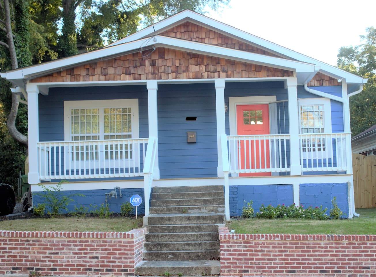 Gorgeous blue home with pumpkin door!