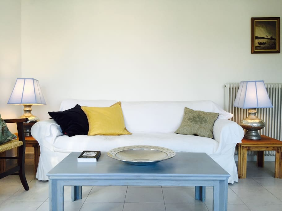 Minimalistic and cozy living area overlooking the bay of Sitia.