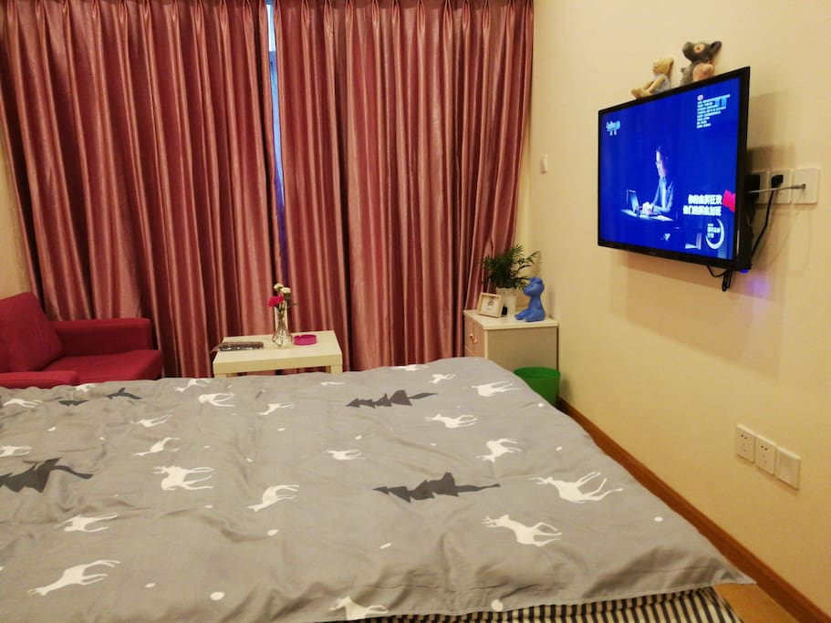 双层窗帘,以及带wifi的电视