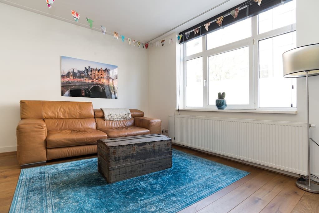 and blue carpets. And really, that couch is amazing. The box is 100 years old. The picture on the wall is one of the most beautiful places in Amsterdam, Prinsengracht/brouwersgracht corner.
