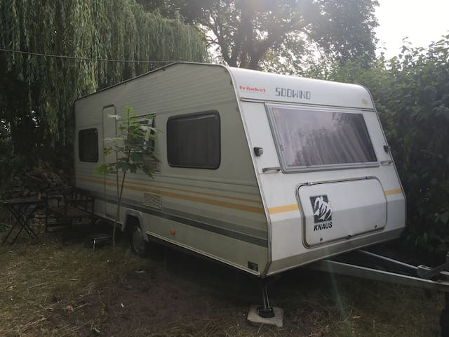 Geräumiger Wohnwagen am Naturschutzgebiet Peenetal