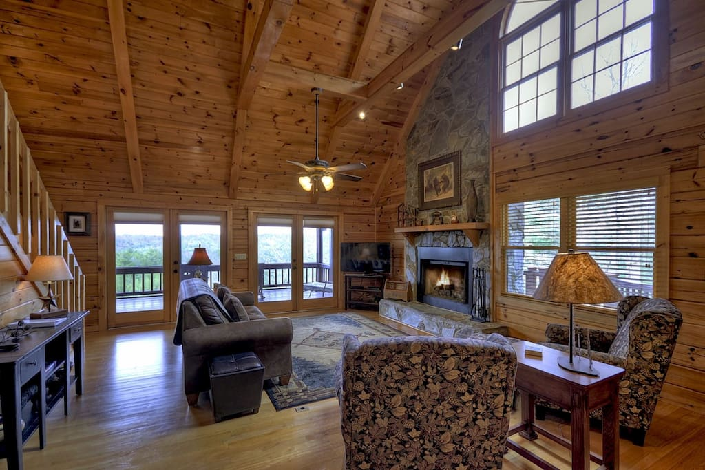 Living Room with a Gas Log Fireplace