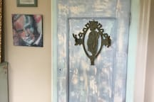 Antique wardrobe that I distress painted.
