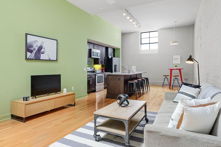 When you step in the condo, you walk into a spacious open floor plan. It is the perfect place to rest and relax during your trip to Durham and has everything you need for a lovely stay.