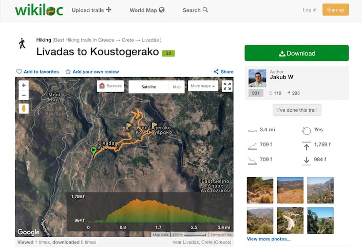 From one of our guests that did this trekking route.  In Livadas you go up the asphalt road for a few hundred metres. When the road turns abruptly to the left, you turn right into a path to Koustogerako, marked with red dots.   In Koustogerako there is a small cafe where you can get a refreshment. We came back to Livadas on the asphalt road (it is a longer way but the road is less steep).