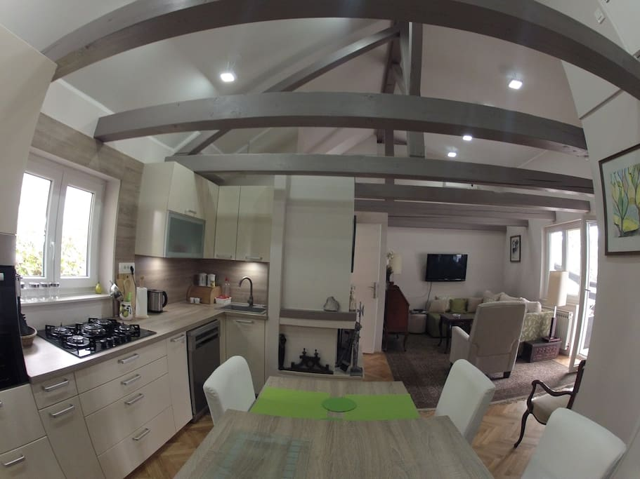 View from the kitchen showing the spaciousness and brightness of the house