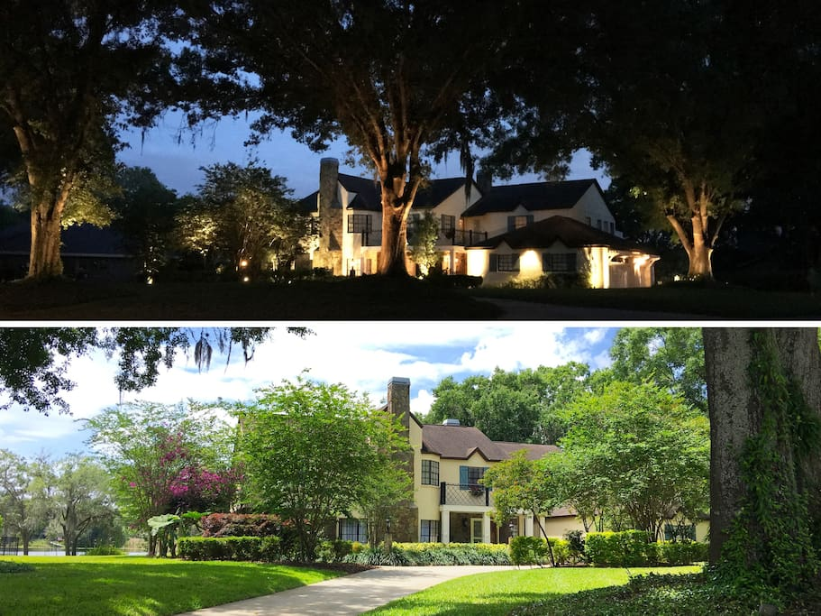 Night & Day Views of Brant Manor's Circular Driveway & Grand Oak Trees