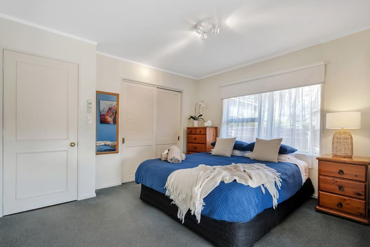 Your own spacious bedroom with new comfy King-sized bed