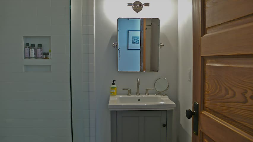 Bathroom with complimentary products.