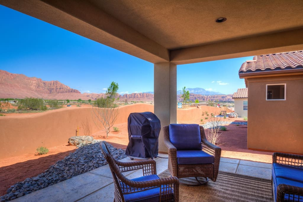 Private covered back patio with gorgeous views