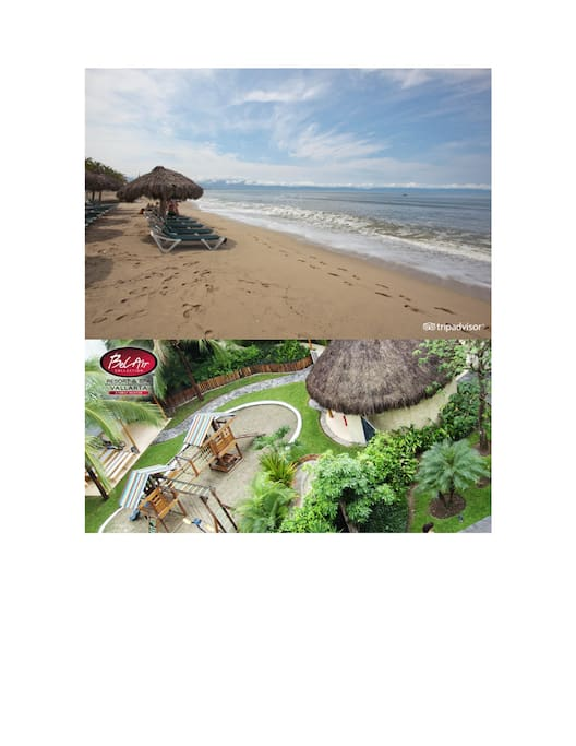 Beach, and Arial view of Spa