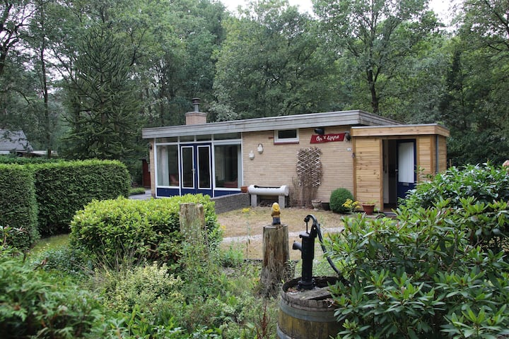Een gezellige bungalow aan de rand van het bos.