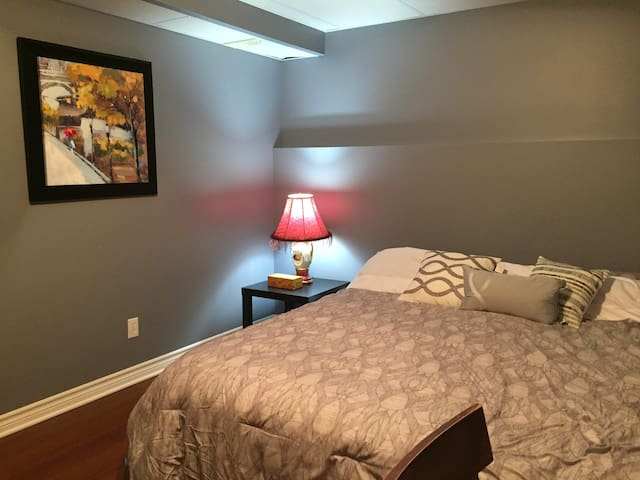 Spacious bedroom with King size bed in basement.