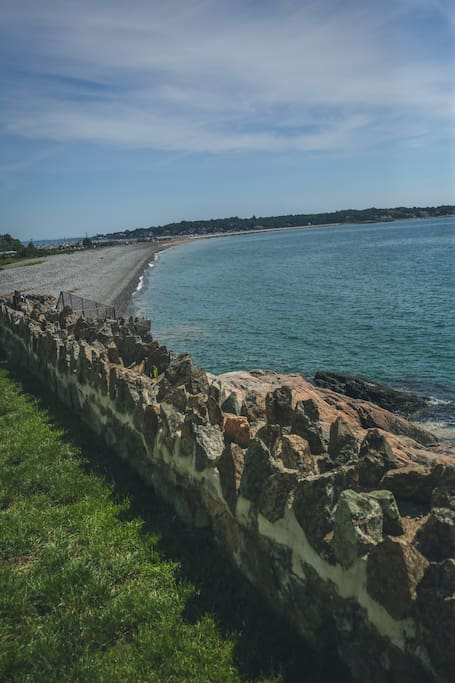 At the bottom of the garden, Marblehead's largest beach with restaurant and much more.