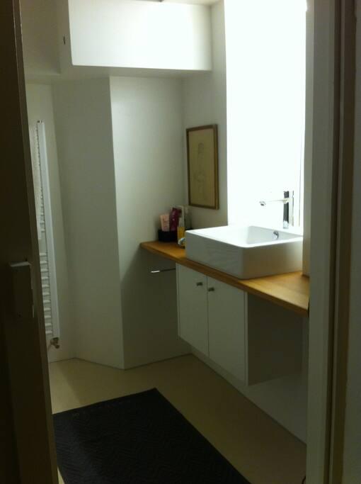 wunderschönes Badezimmer :             WC, Dusche, Lavabo