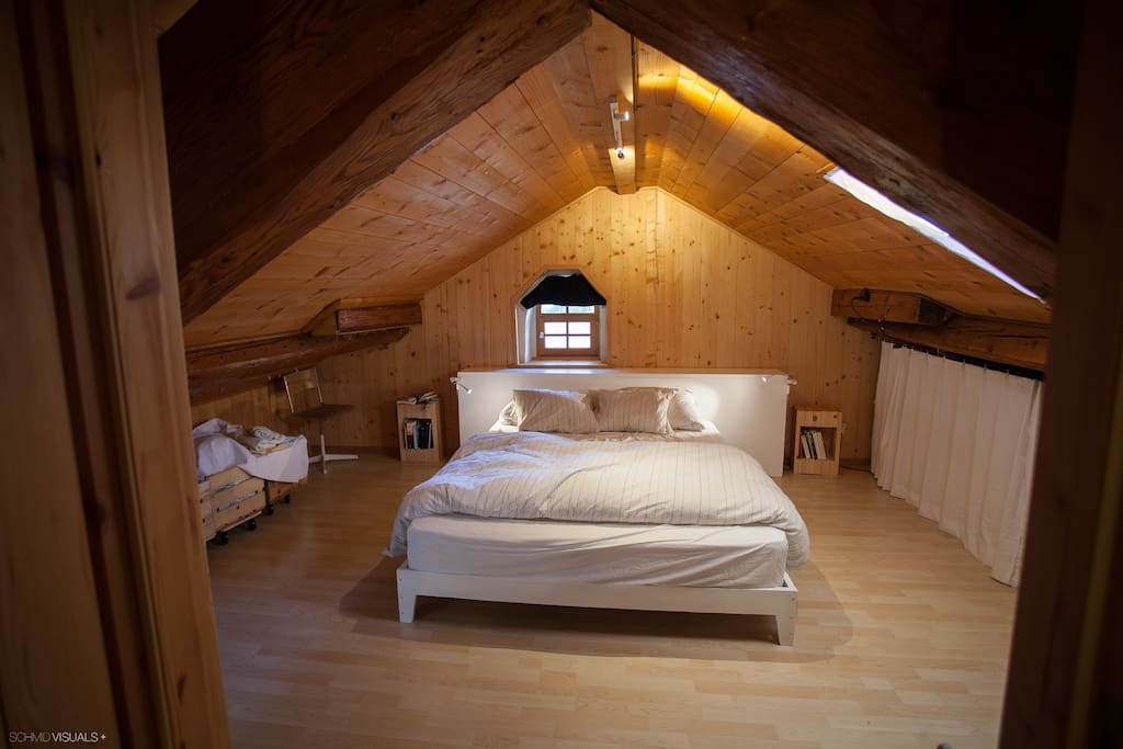 Upper room with double bed.