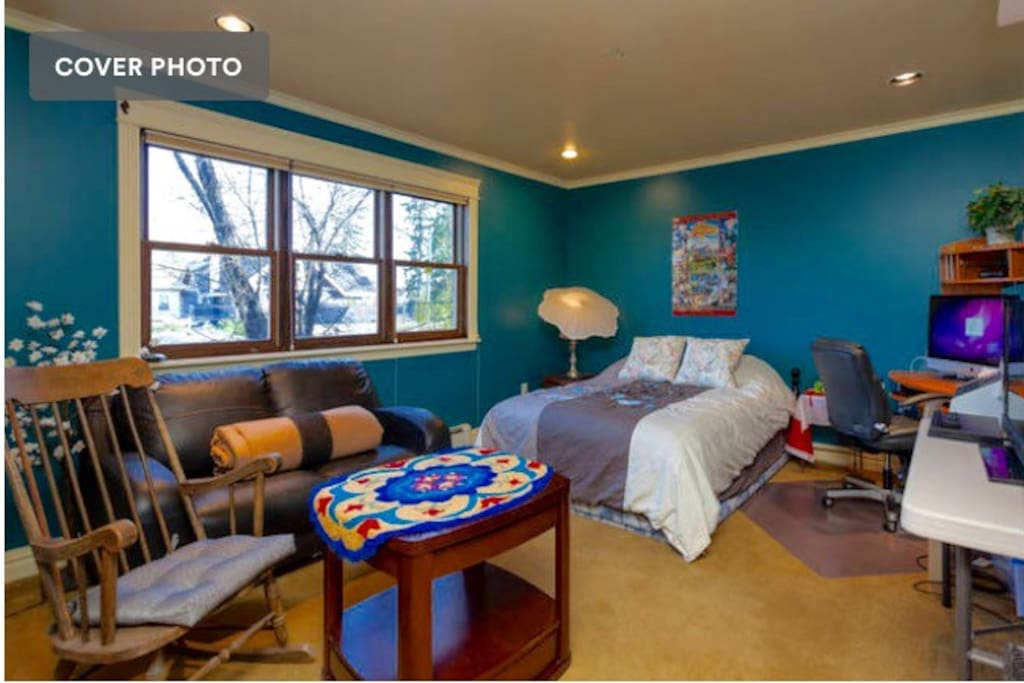 Teal Room, one of three guest rooms of which you will stay in two.
