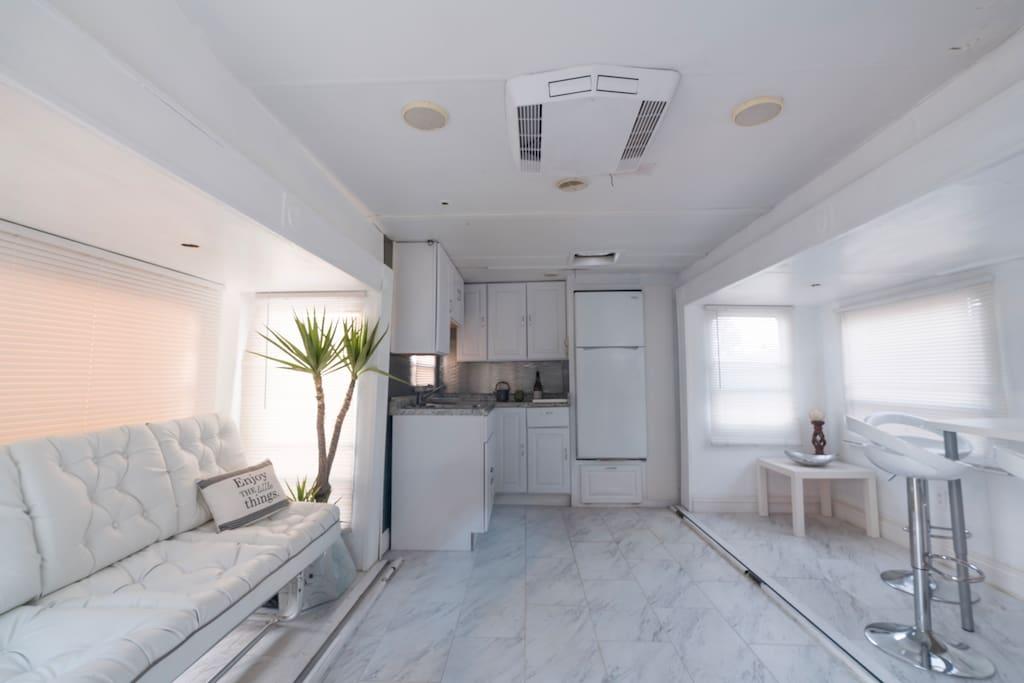 Livingroom area.Microwave and refridgerator.