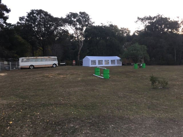 There is plenty of space for parking, camping or footy.