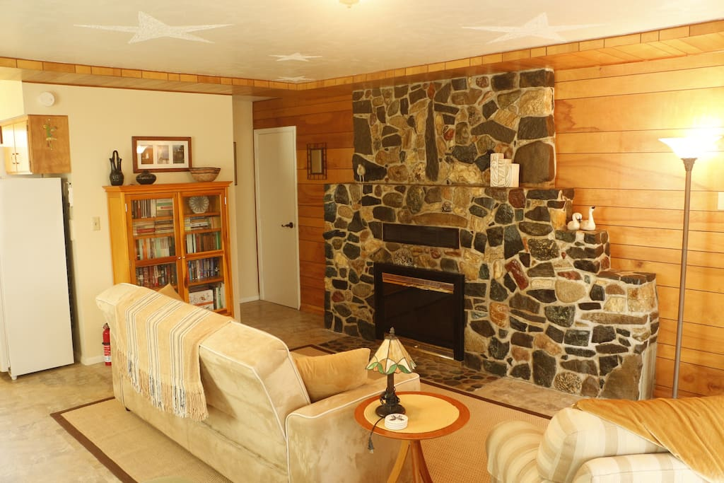 Living room & Stone Fireplace