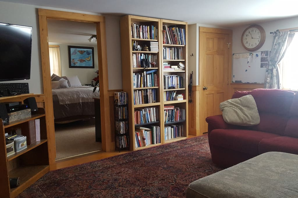 Books, television, and first floor Master bedroom