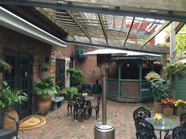 Pergola Retractable roof, bistro tables, gazebo bar [stockable for reserved gatherings]