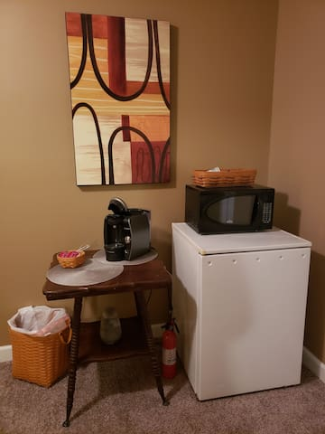 Frig, microwave, and coffee maker