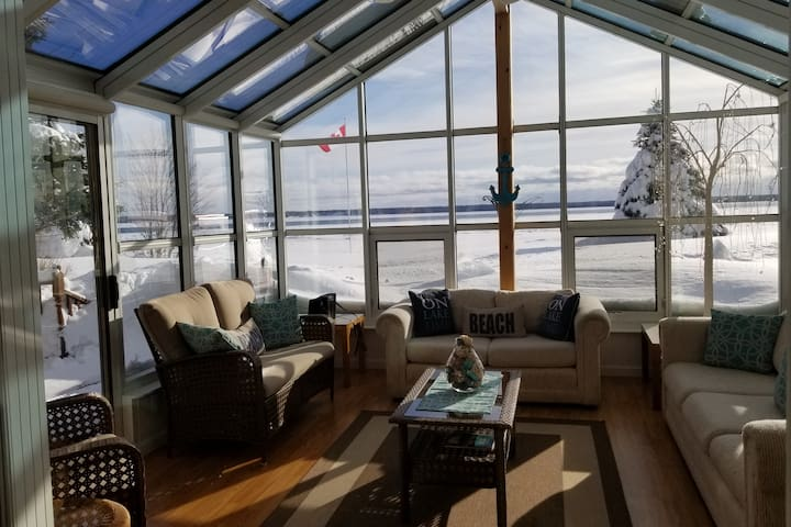 On a sunny winter day with temperatures around - 10, and above the sunroom warms up nicely to enjoy.