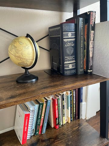Bookshelf, with various books and a globe.
