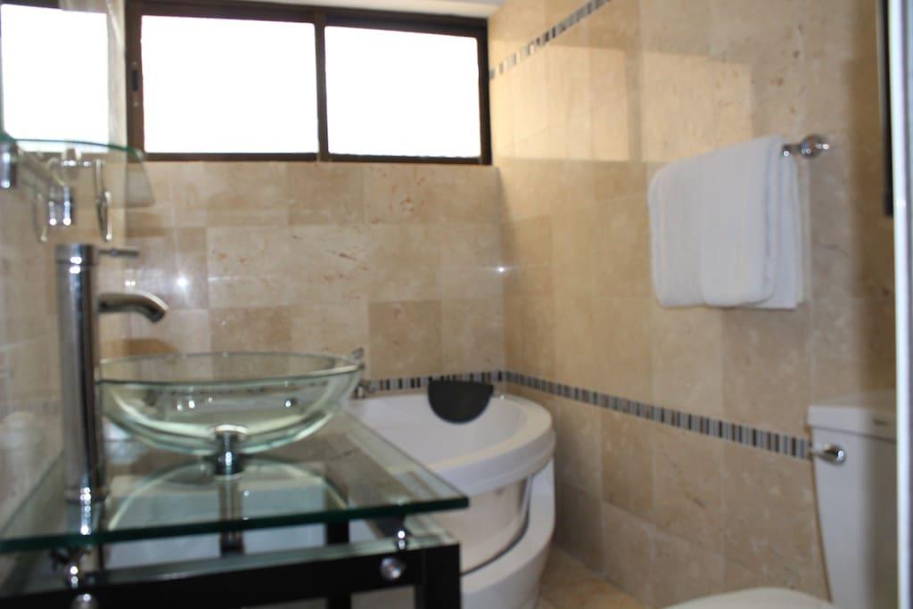 Main bathroom with jacuzzi/Baño principal con jacuzzi