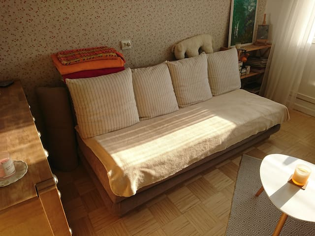 Single bed (85 x 200 cm), possible to add an air mattress