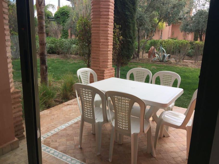 Outdoors garden seating
