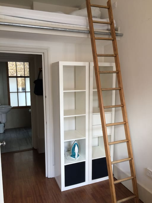 ladder leading to the mezzanine