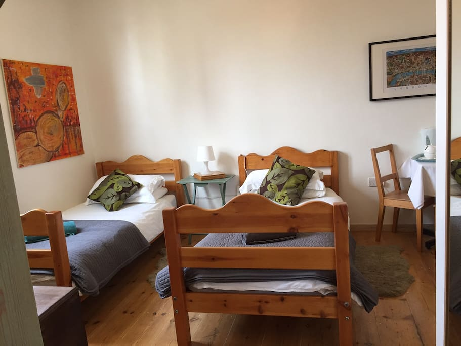 2 single comfortable beds,  and own entrance with shared terrace.