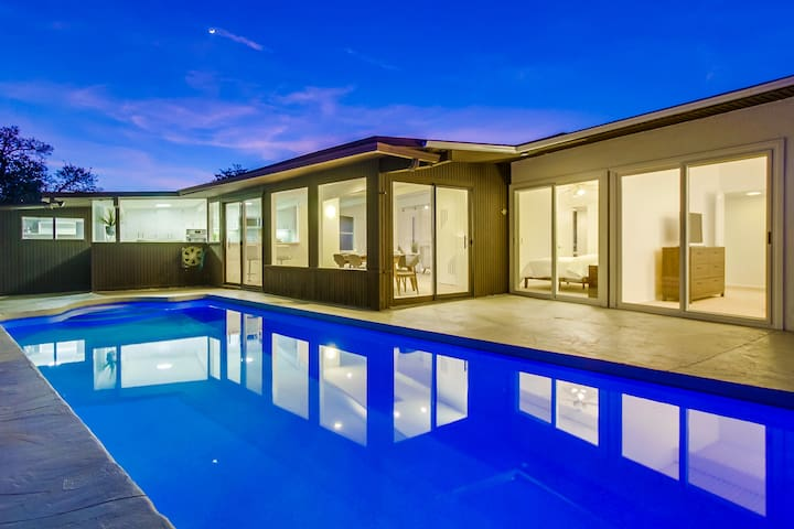 Hip Mid-Century Modern With Heated Pool & Game Room