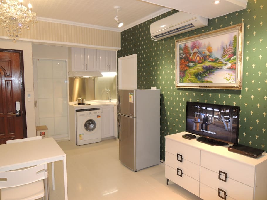Washing Machine, Fridge, Split Type Air-Conditioner and 32 inches LED TV