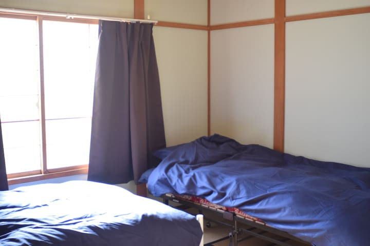 closed JR station.  twin room