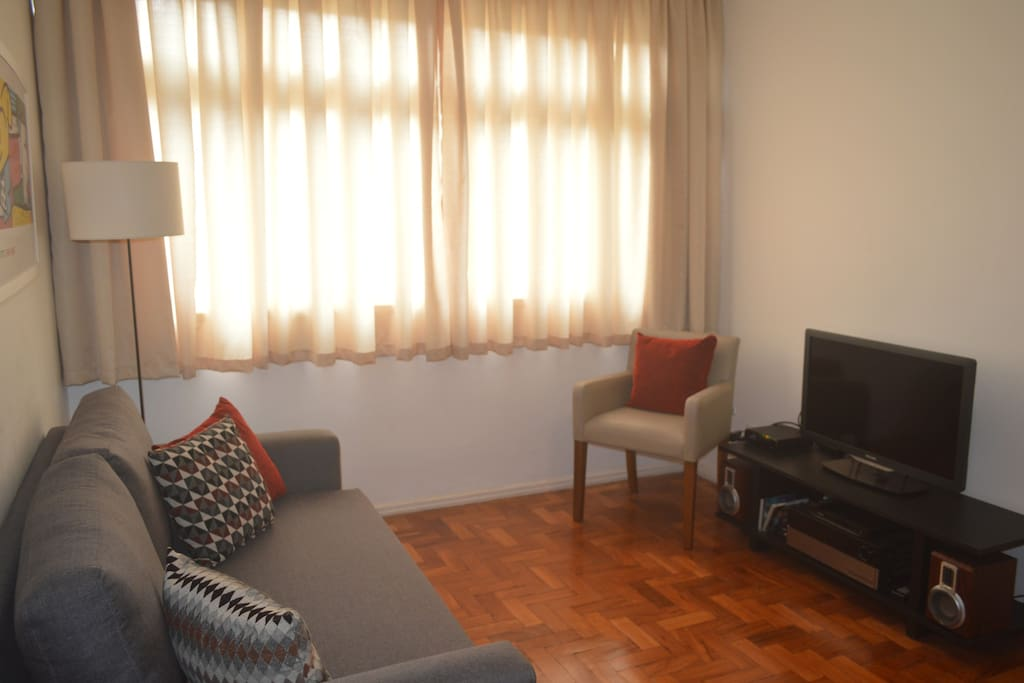 Living room, stereo music system and TV