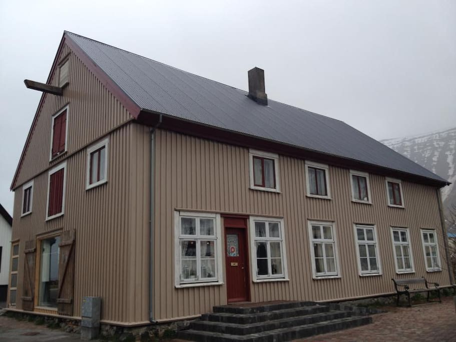 One of Ísafjörður's historic houses. Apartment is on first floor, on the left hand side seen from front.