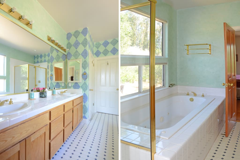 Large bathroom with shower and jetted tub.
