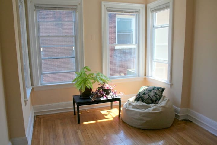 High ceilings, natural light, and a beanbag chair provide a perfect reading nook in the bedroom.