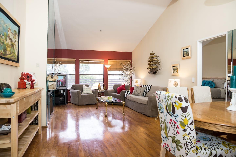 Beautiful hardwood floors, top floor condo with huge skylights and vaulted ceilings