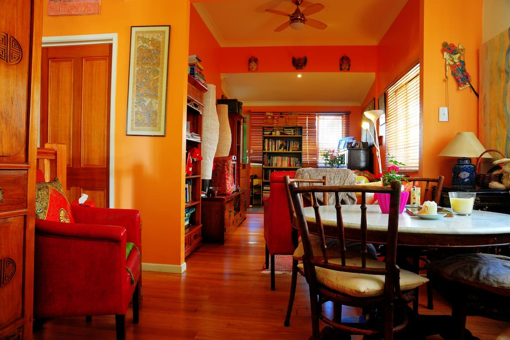 A separate dining area - the table came from time in Indonesia.
