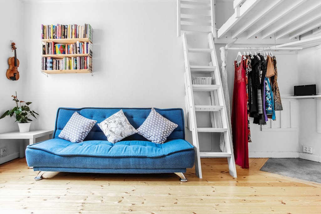 Ladder up to loft where there is a bed for two. This sofa is also possible to make to a bed for two.