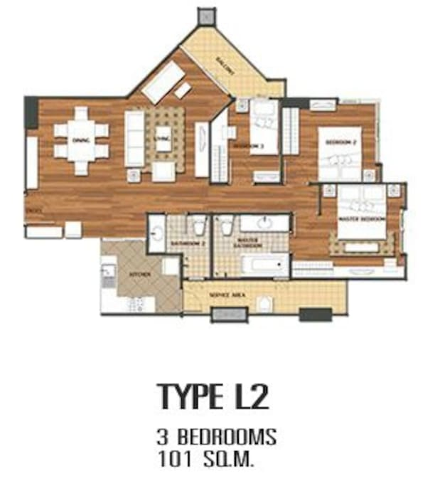 101 sqm unit, with 2 bedrooms available. (one reserved for owner.)