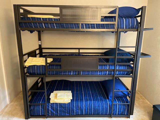 Triple Bunk Beds in Second Bedroom