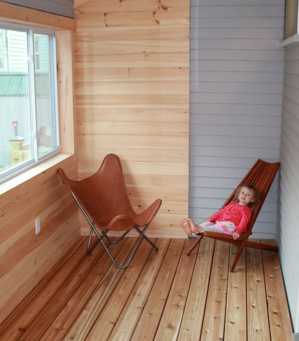 enclosed porch with sleeper sofa