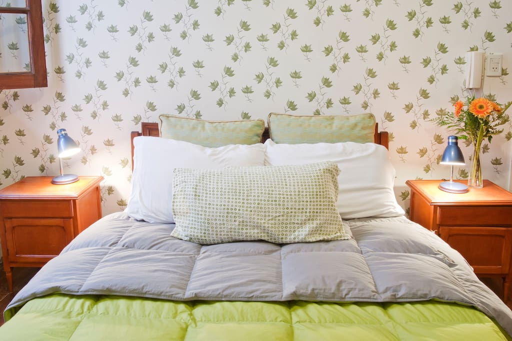 A queen-size bed and shutters to block out the light so you can sleep until you want to.