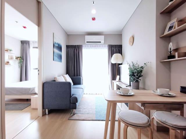 氧Ⅲ 城市地标景观一居公寓 无边泳池 健身房 高层花园 近中心ASOK NANA 水门市场