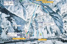 This is Yuzawa Kogen Ski Resort. It is connected to GALA ski resort by gondolas at the top. Our house is located at the bottom right lift (nunoba area).
